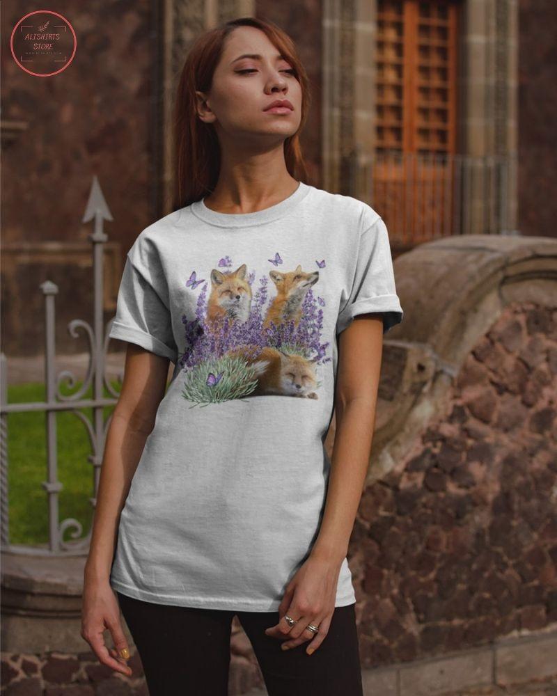 Fox and Gorgeous Purple flower Shirt