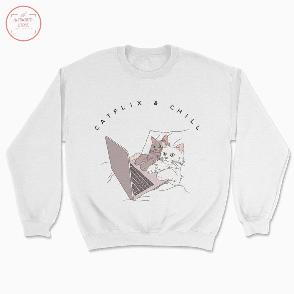 Funny Catflix & Chill Sweatshirt