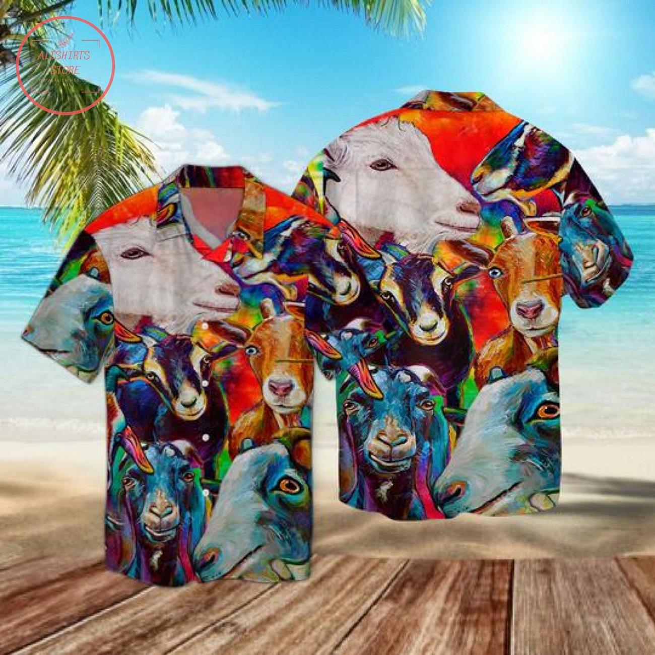 Funny Goat Colorful Hawaii Shirt