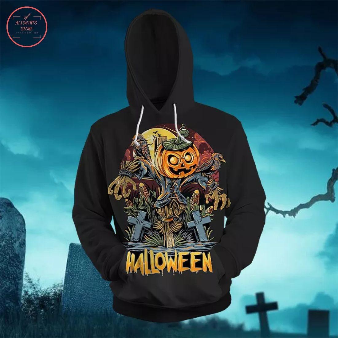 Halloween Scarecrow And Pumpkin Hoodie