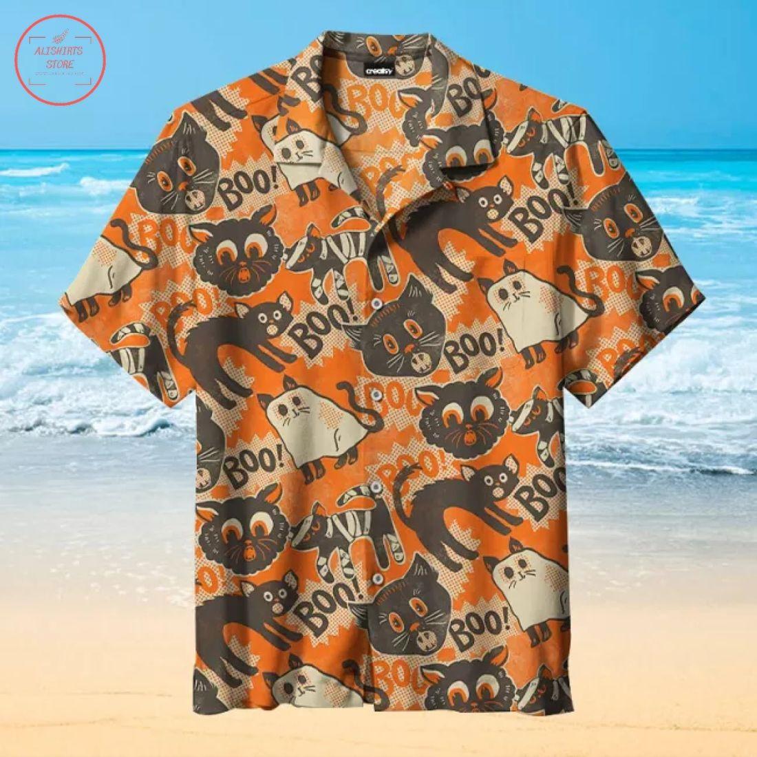 Halloween cat pattern Hawaiian Shirt