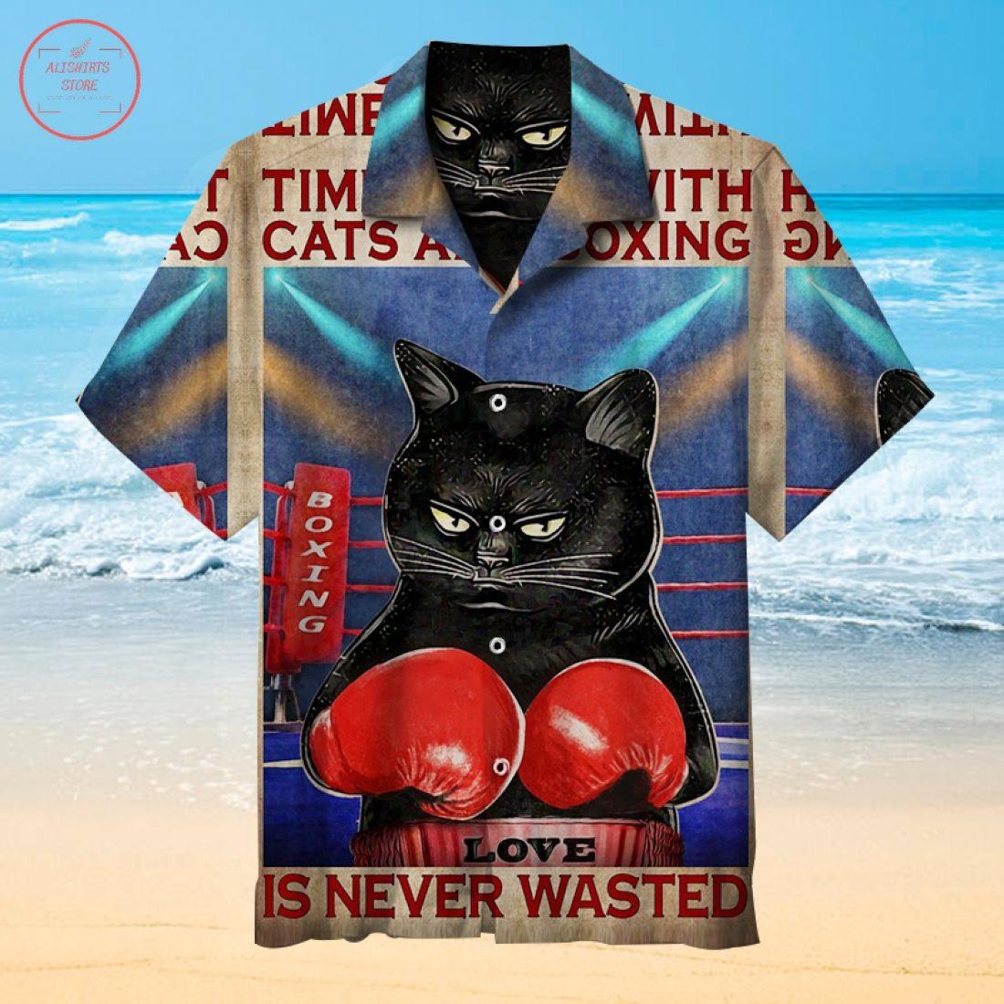 Happy cat and coffee Hawaiian shirt