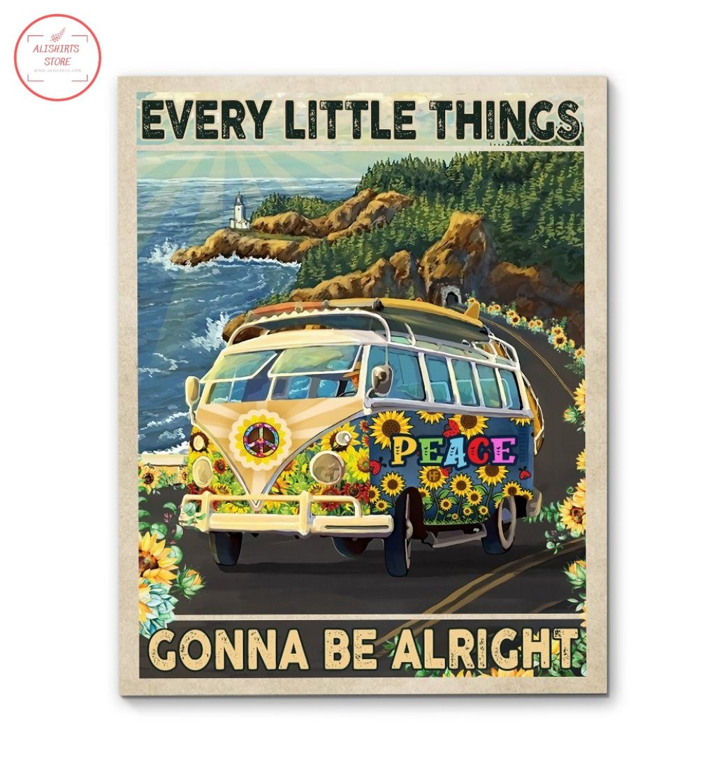 Hippie Bus Every Little Things Gonna Be Alright Canvas