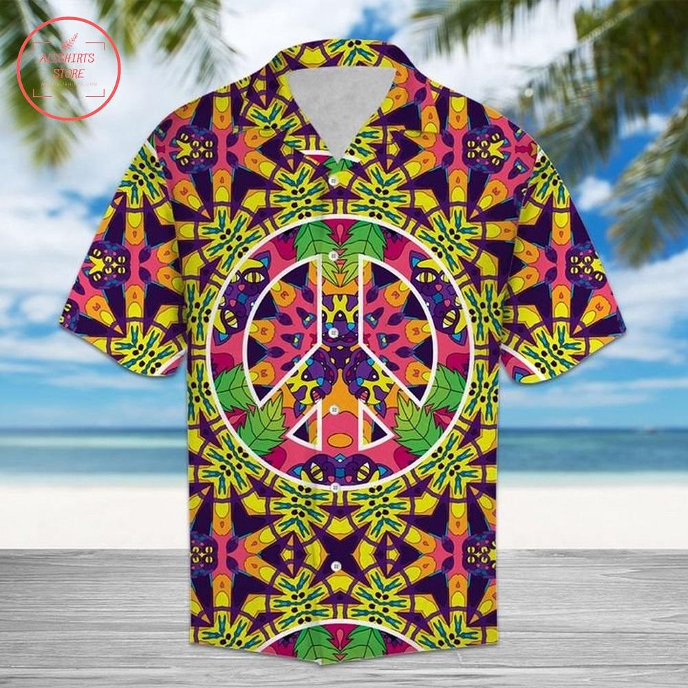 Hippie Peace Freaks Cats Hawaiian Shirt Summer Button Up