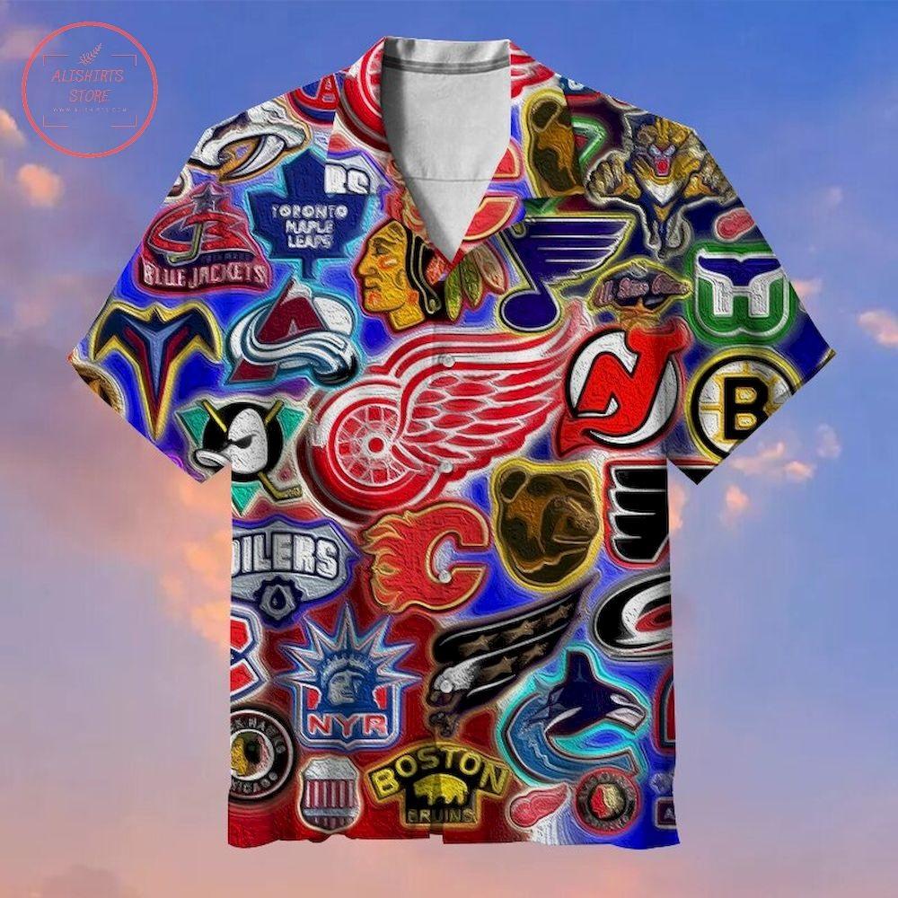 Hockey League Team Logo Collection Hawaiian Shirt