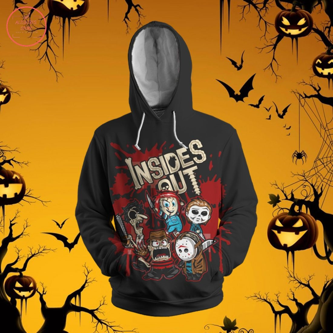 Horror Characters Inside Out 3D Hoodie