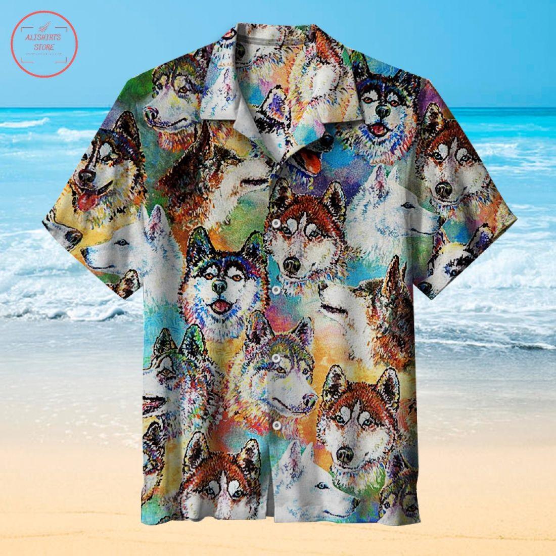 Husky Dogs Art Hawaiian Shirts