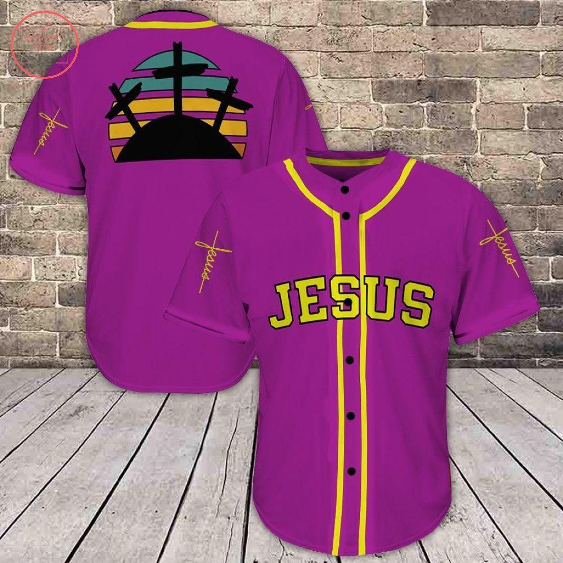 Jesus Purple All Over Print Baseball Jersey
