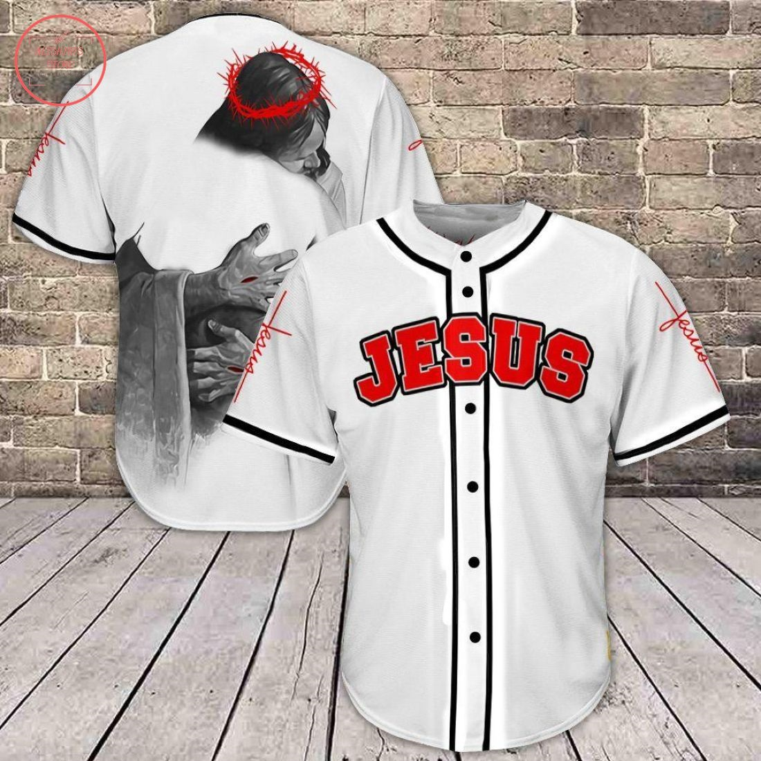 Jesus in The Arms of Lord Baseball Jersey