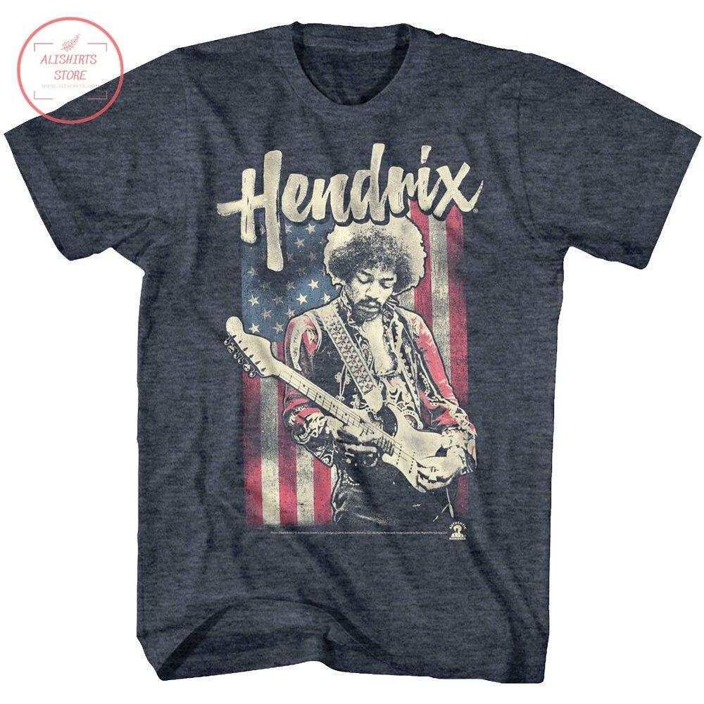 Jimi Hendrix Guitar American Flag Shirt
