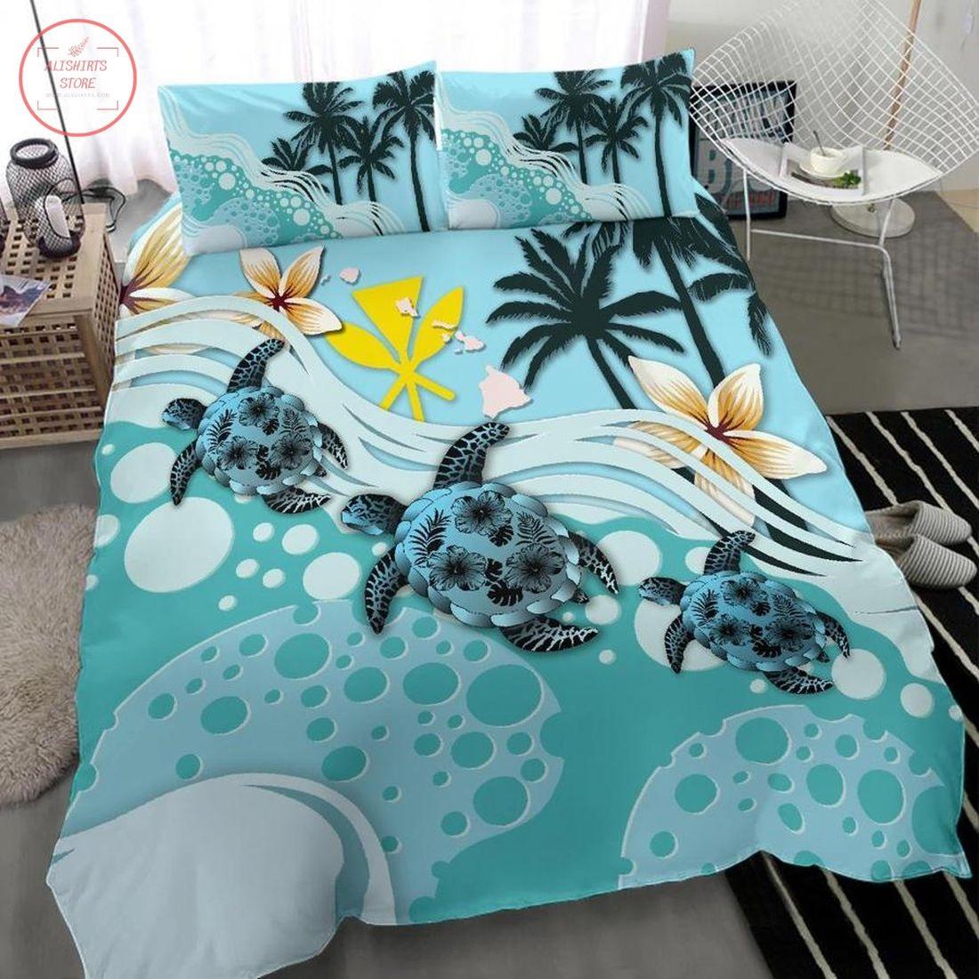 Kanaka Maoli Hawaiian Blue Turtle Hibiscus Bedding Set