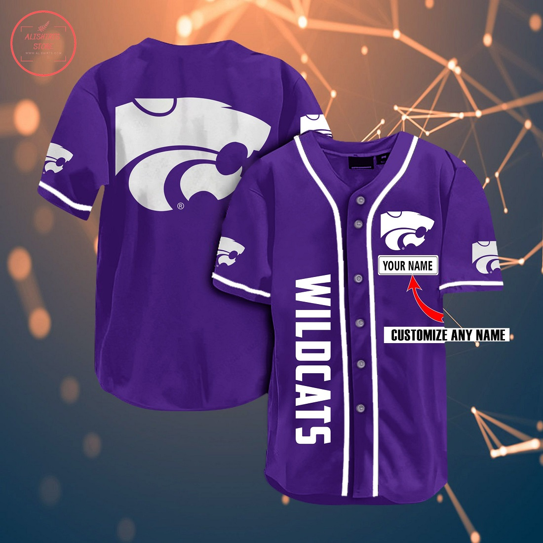 Kansas State Wildcats Personalized Baseball Jersey