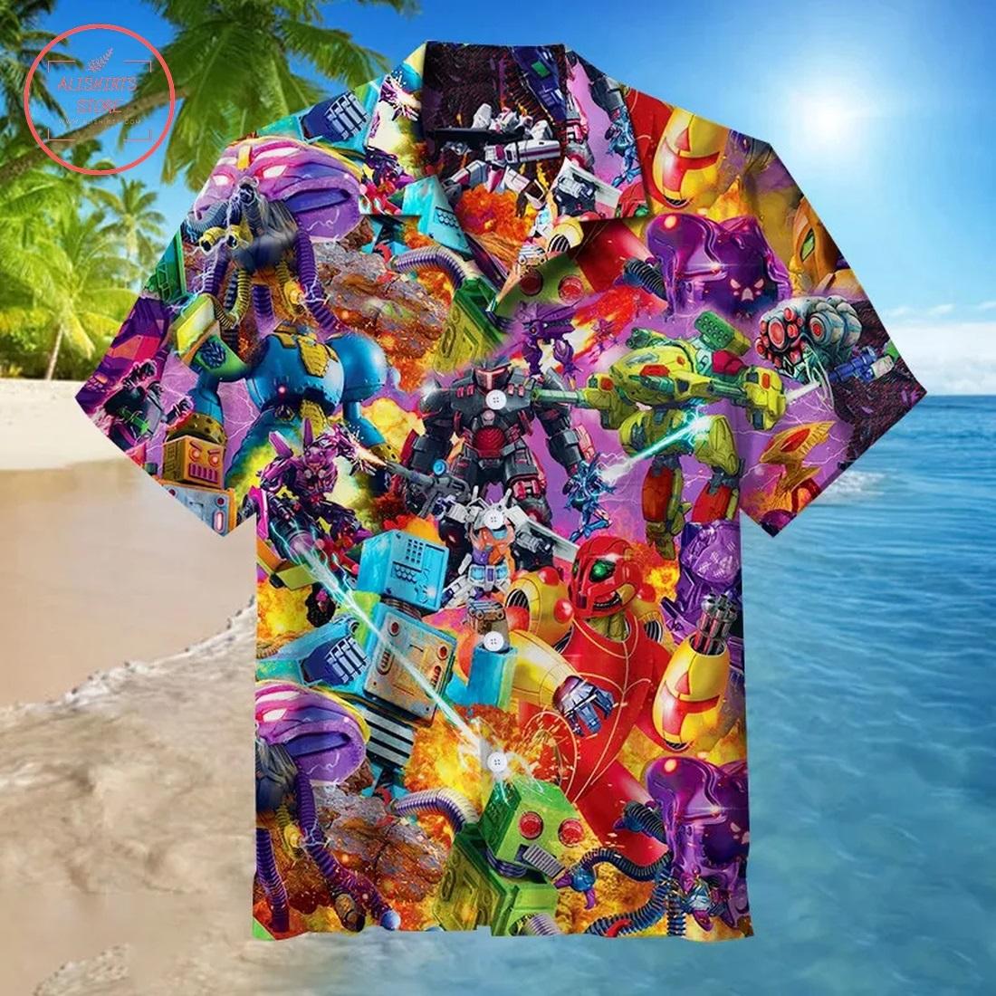 Mecha Robot War Hawaiian Shirt