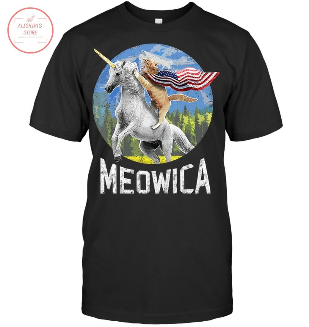 Meowica Unicorn Cat American Flag Patriotic 4th of July Shirt