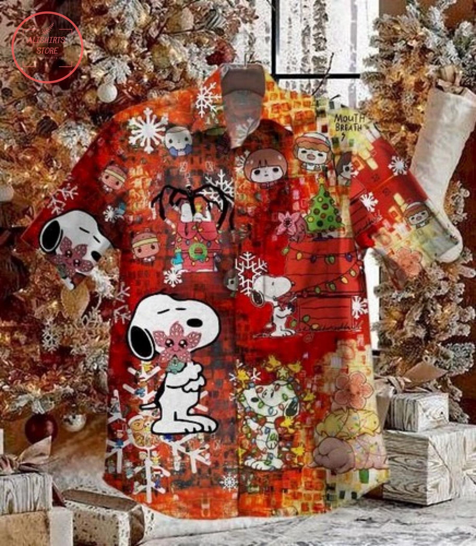 Mindflayer Christmas Dog Vintage Short Sleeve Hawaiian Shirt