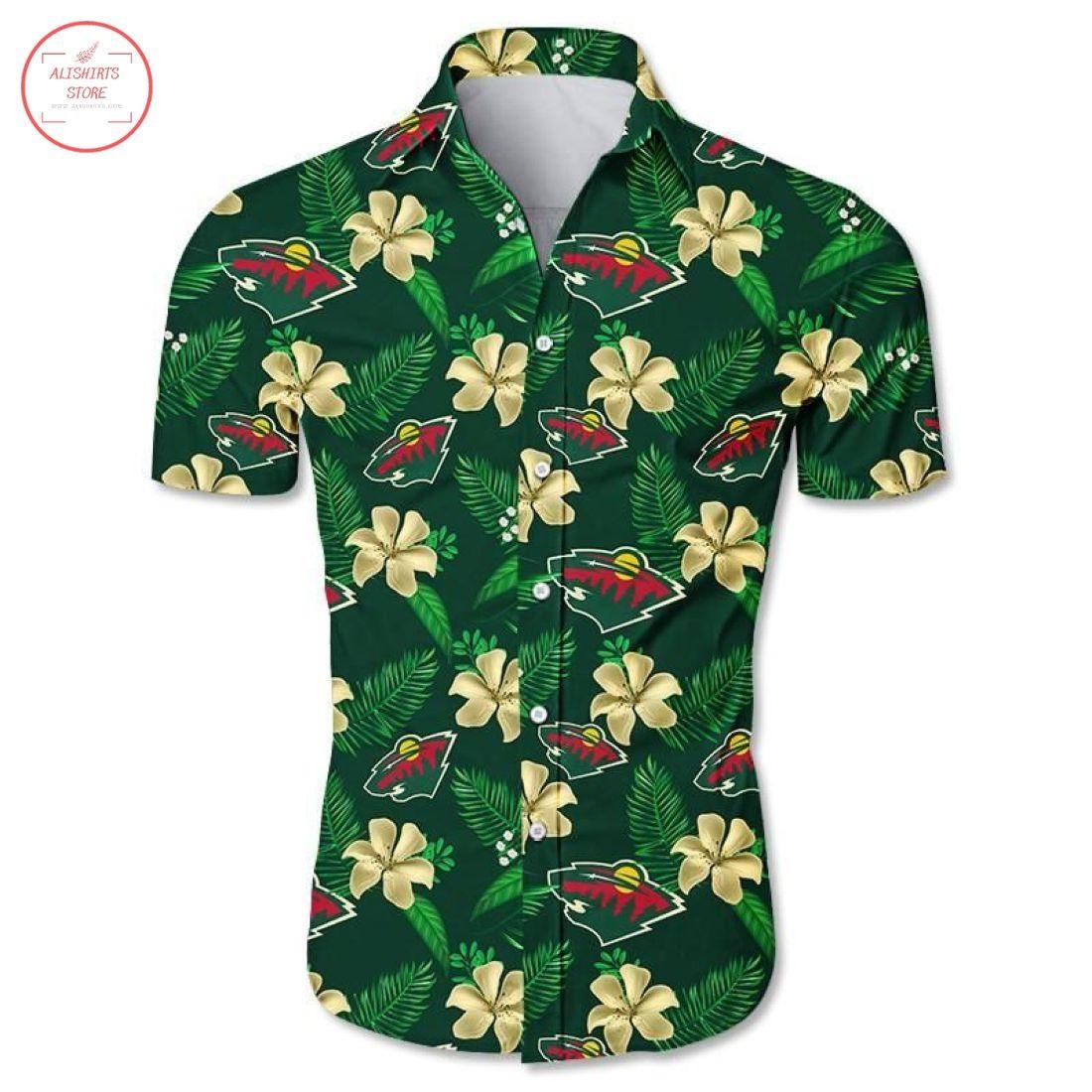Minnesota Wild Floral Hawaiian Shirt