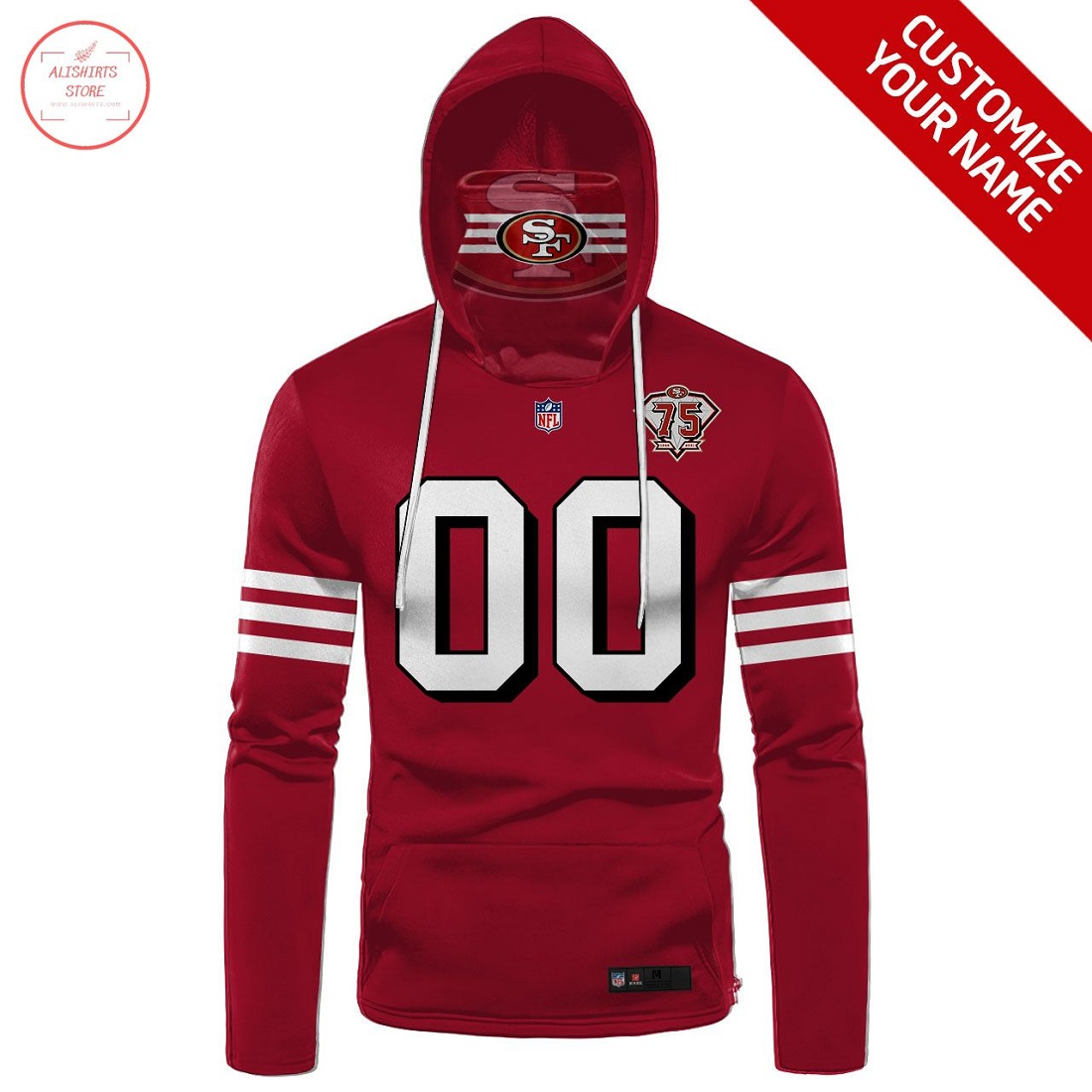 NFL San Francisco 49ers Personalized Gaiter Hoodie