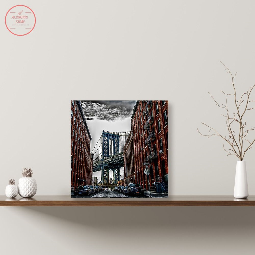 NYC Bridge Between the Buildings Canvas Print