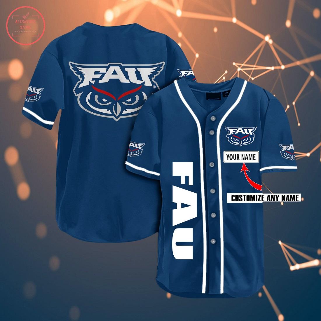 Ncaa Florida Atlantic Personalized Baseball Jersey