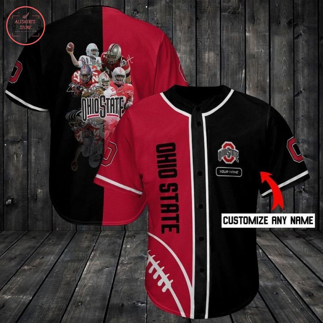 Ncaa Ohio State Buckeyes Custom Name Baseball Jersey