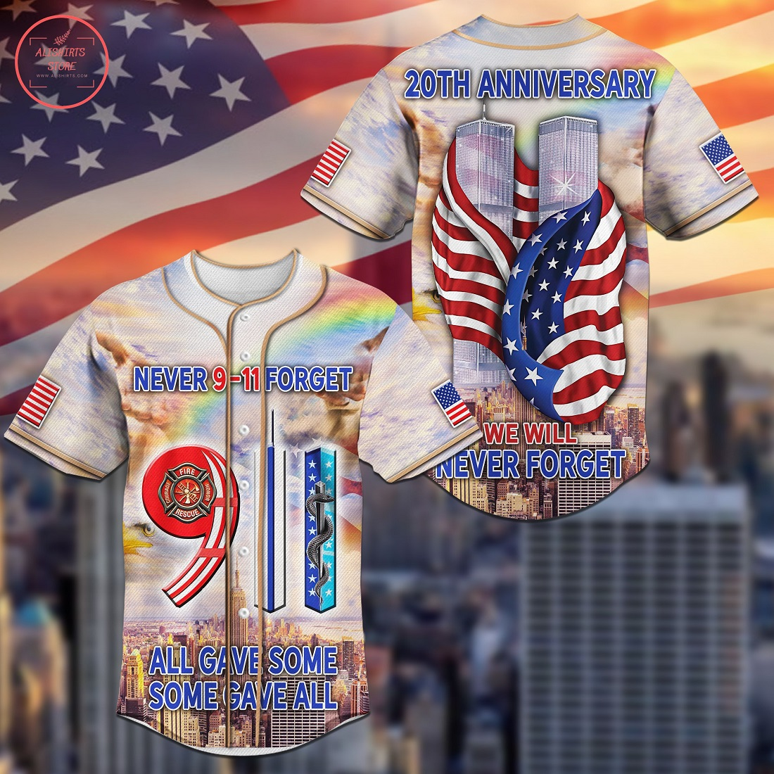 Never Forget 9.11 All Gave Some Baseball Jersey