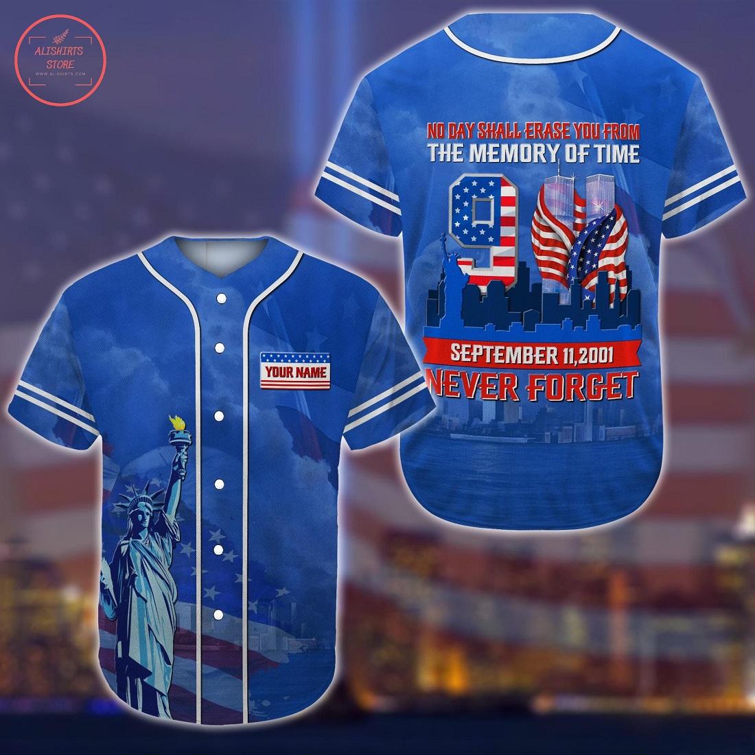 Never Forget 9.11 Custom Name Baseball Jersey