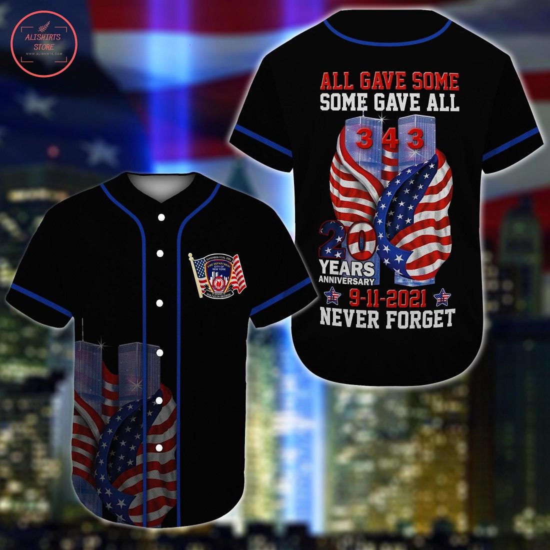 Never Forget September 11th Baseball Jersey