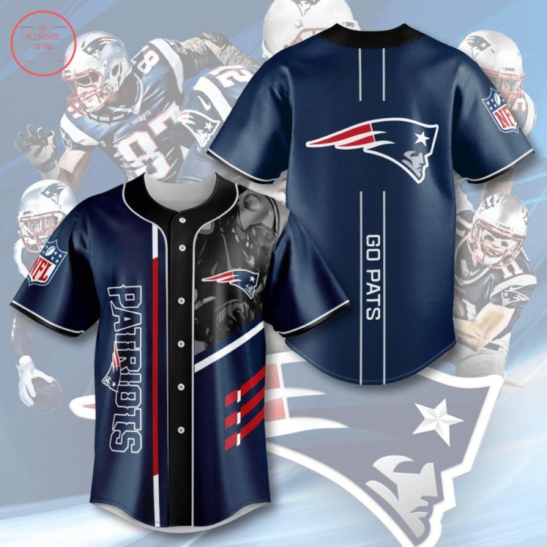 New England Patriots NFL Go Pats Baseball Jersey