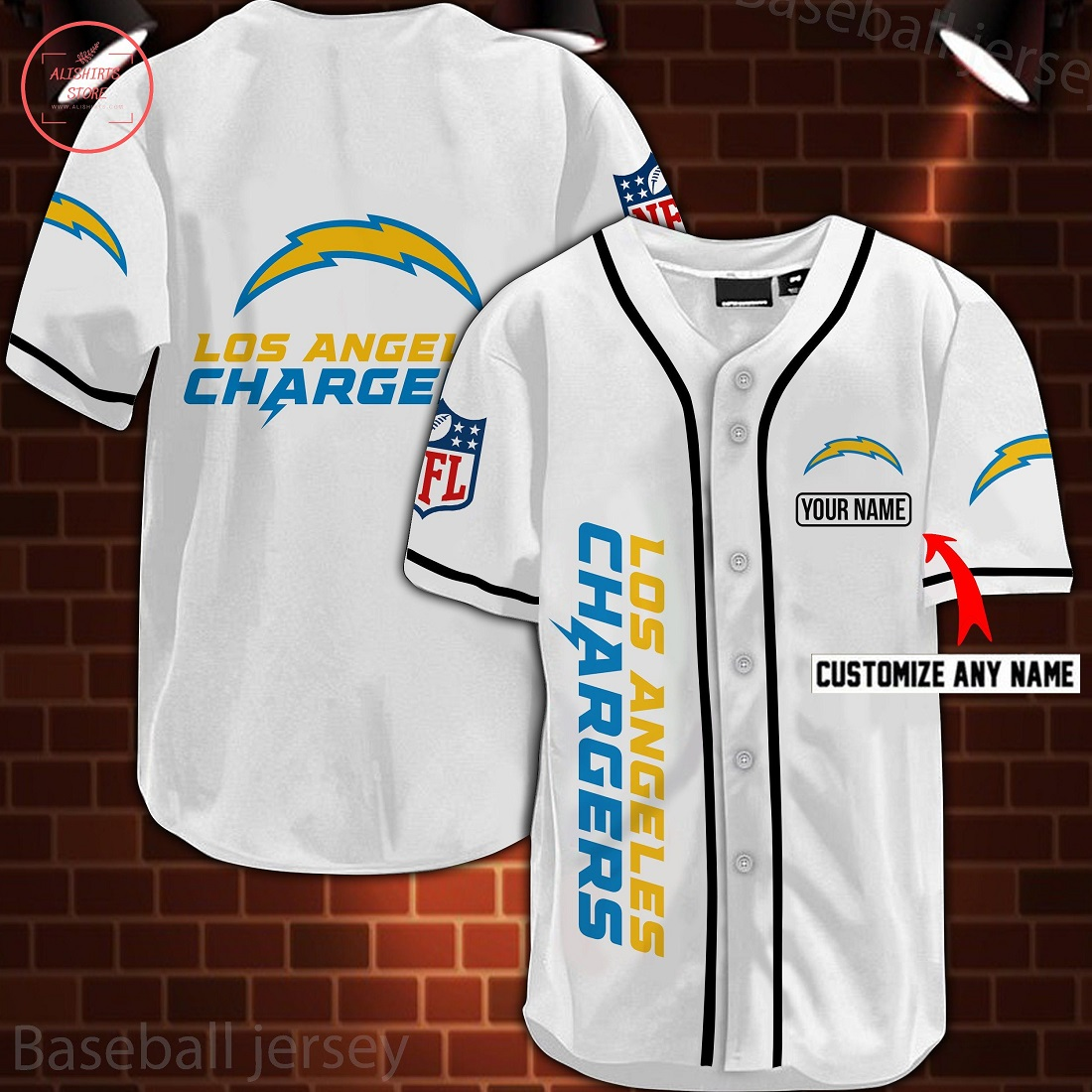 Nfl Los Angeles Chargers Personalized Baseball Jersey