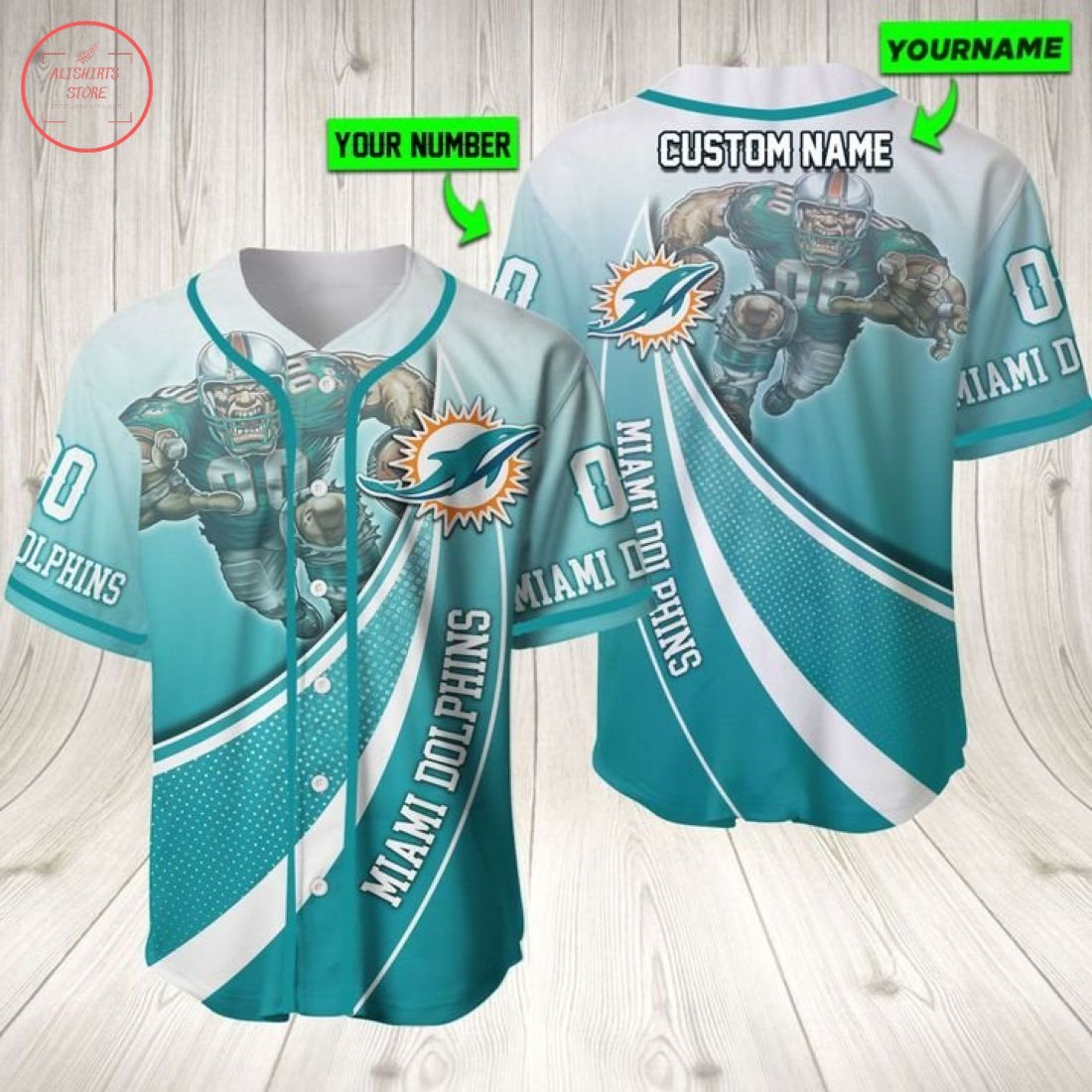 Nfl Miami Dolphins Personalized Baseball Jersey