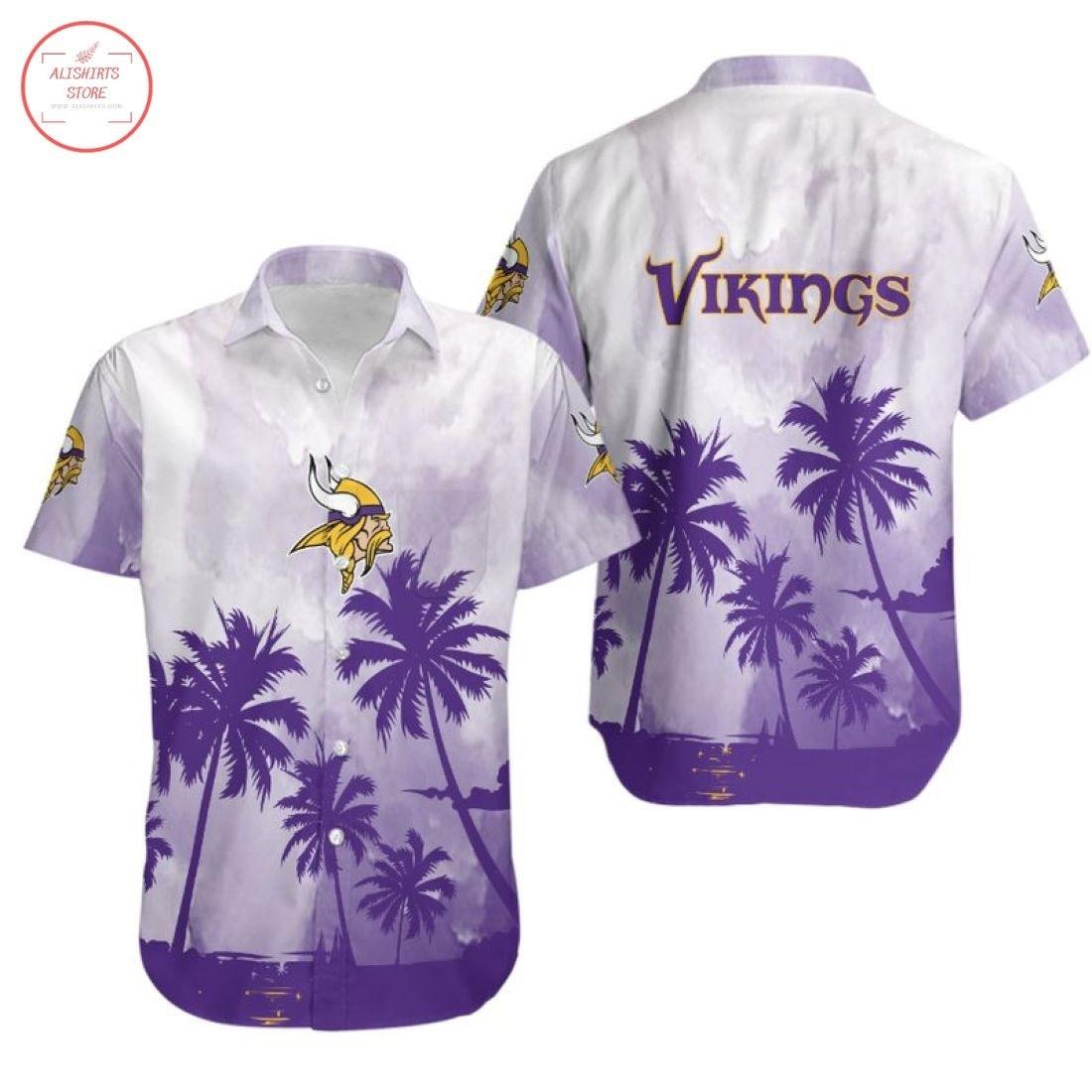 Nfl Minnesota Vikings Coconut Trees Hawaiian Shirt