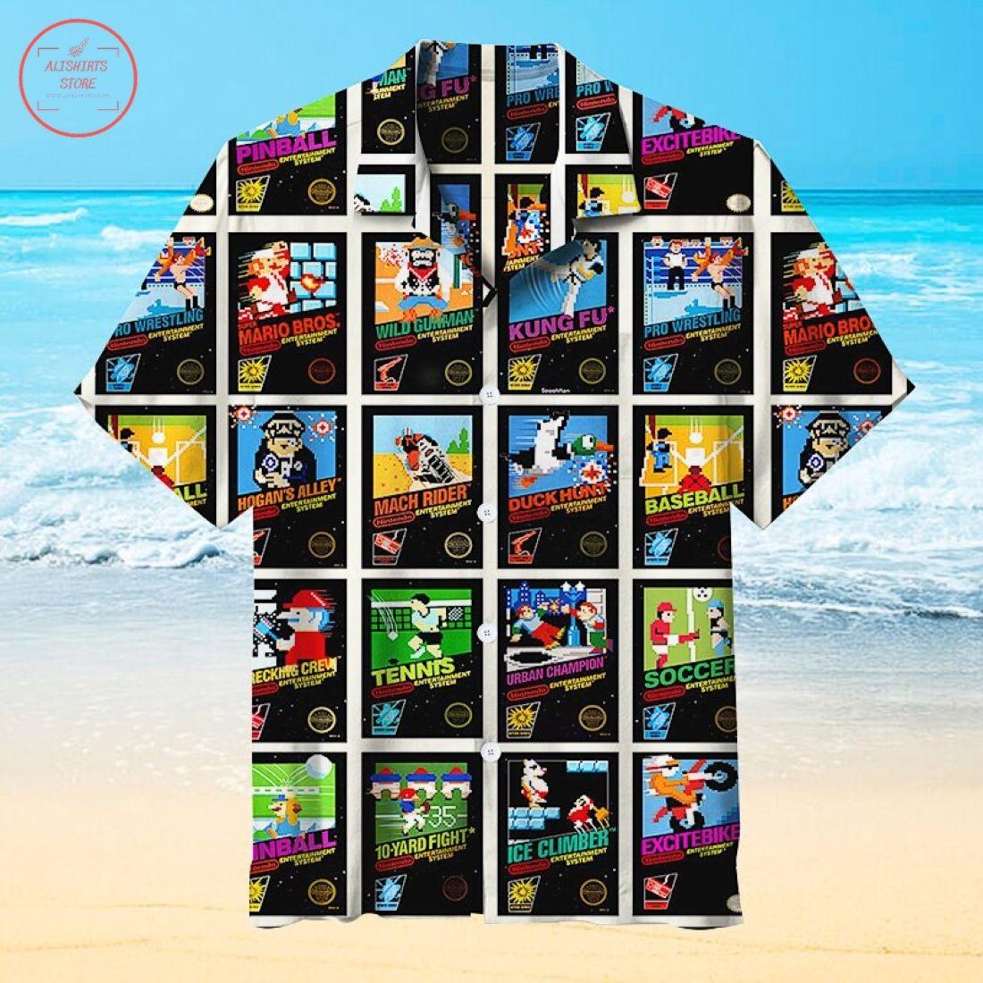 Nintendo 8-Bit Video Game Cover Hawaiian Shirt