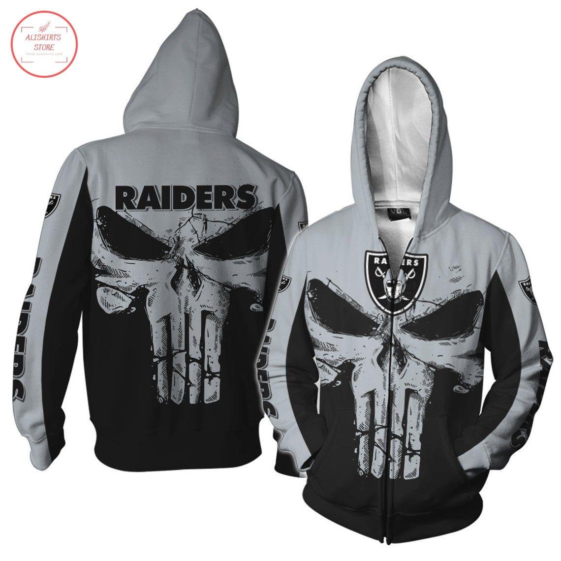 Oakland Raiders NFL Punisher Skull Zip Hoodie
