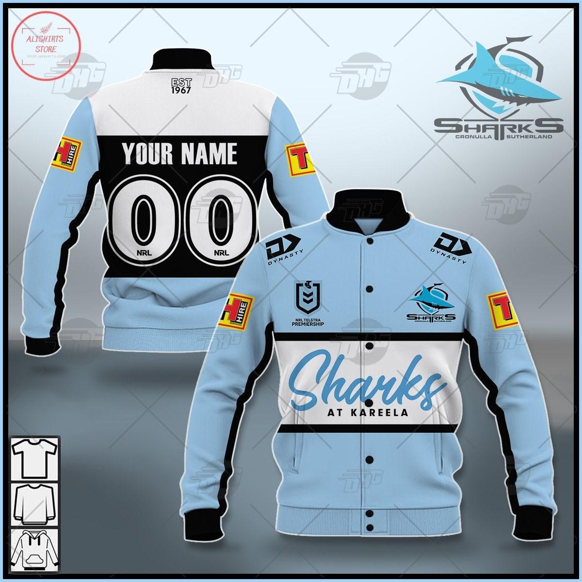 Personalized NRL Cronulla-Sutherland Sharks 2021 Letterman Jacket