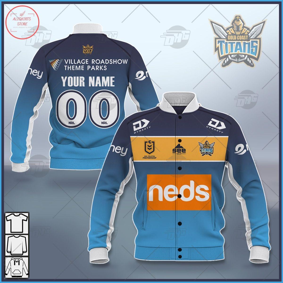 Personalized NRL Gold Coast Titans 2021 Letterman Jacket