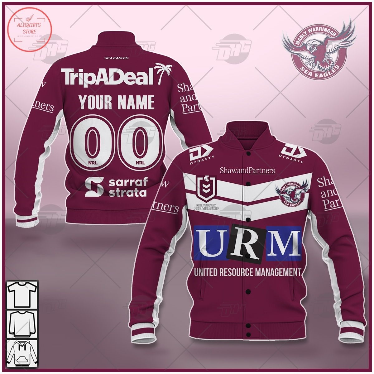 Personalized NRL Manly Warringah Sea Eagles 2021 Letterman Jacket