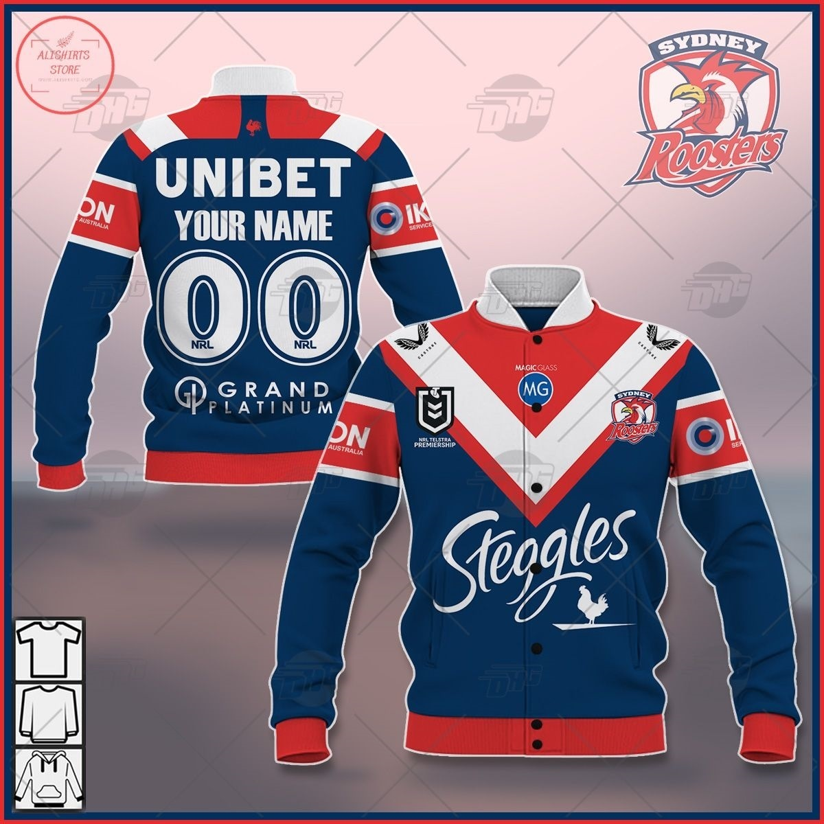Personalized NRL Newcastle Knights 2021 Letterman Jacket