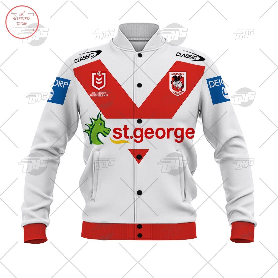 Personalized NRL St. George Illawarra Dragons 2021 Letterman Jacket