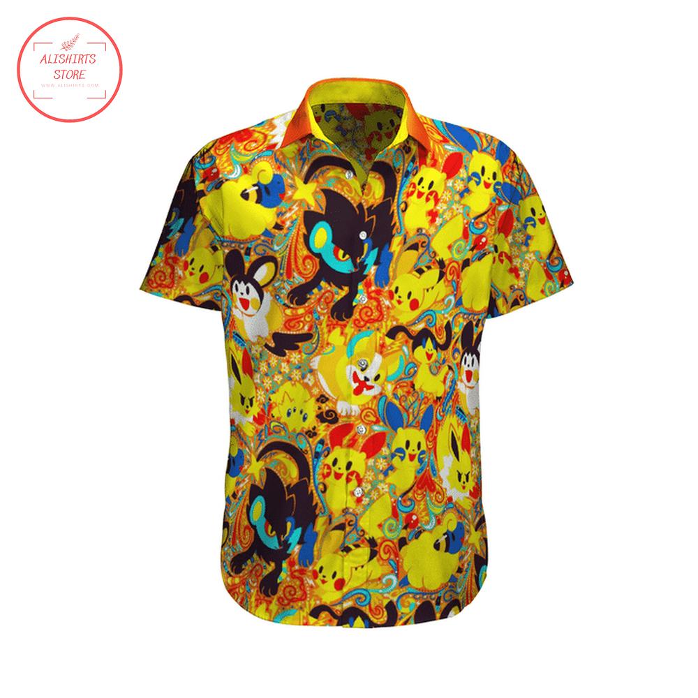 Pokemon Yellow Color Hawaii Shirt