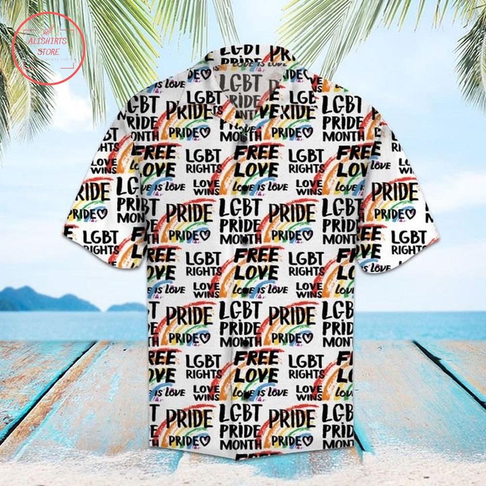 Pride Parade LGBT Free Love Hawaiian Shirt Summer Button Up