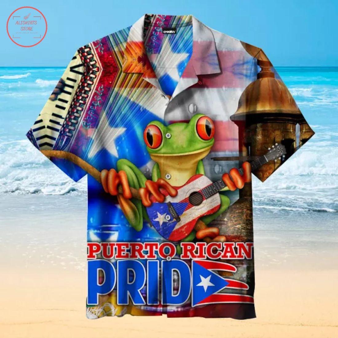 Puerto Rico Frog Flag Hawaiian Shirt