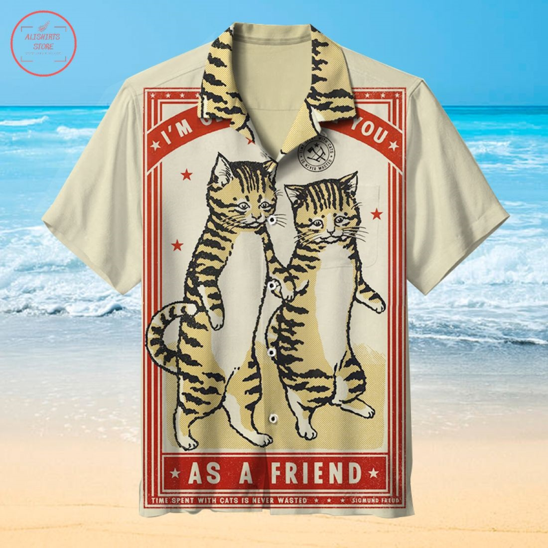 Pug Cat Headshot Vintage Hawaiian shirt