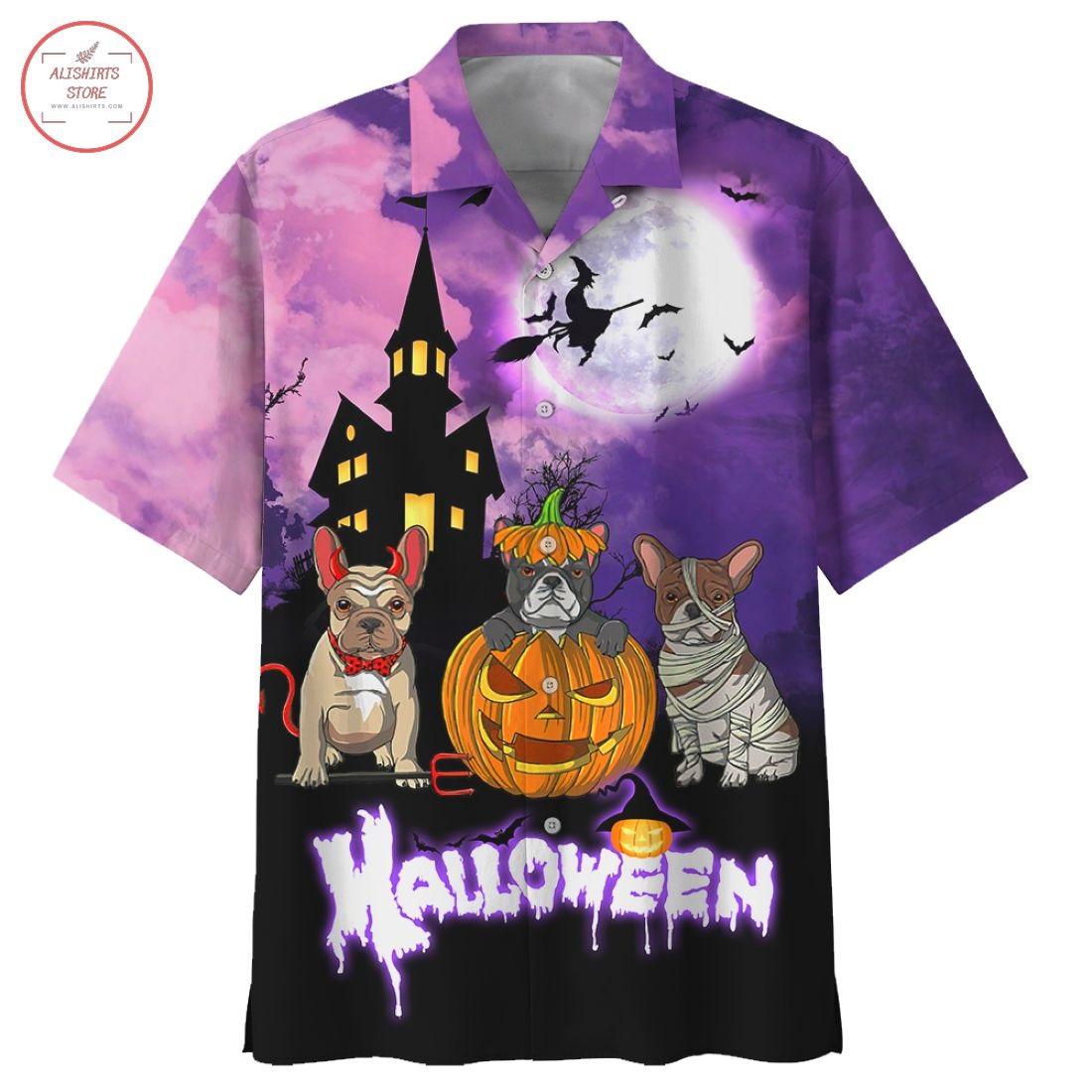 Pugs Dogs Halloween Hawaiian Shirt