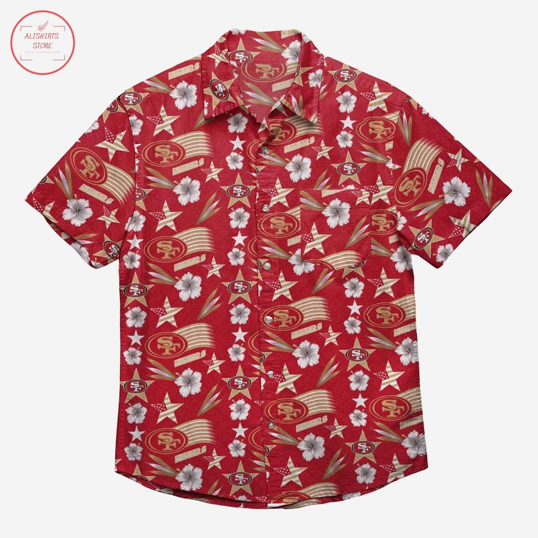 San Francisco 49ers Americana Hawaiian Shirt