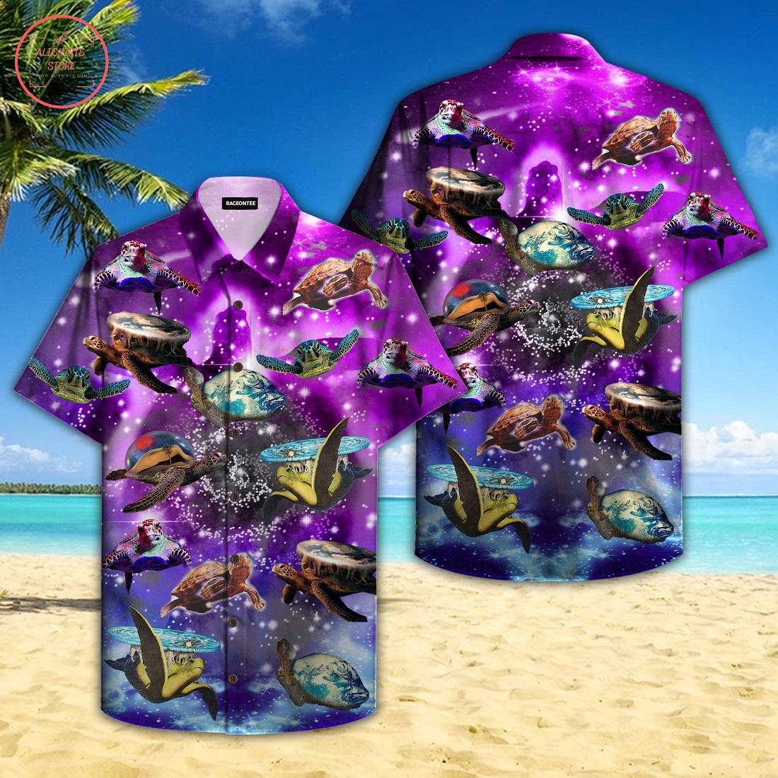 Sea Turtle In Outer Space Galaxy Hawaiian Shirt