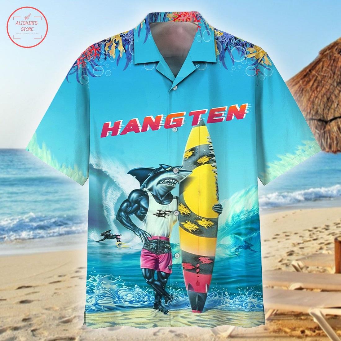 Shark Hang Ten Hawaiian Shirt