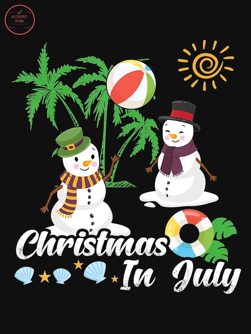 Snowman Christmas In July Funny Shirt