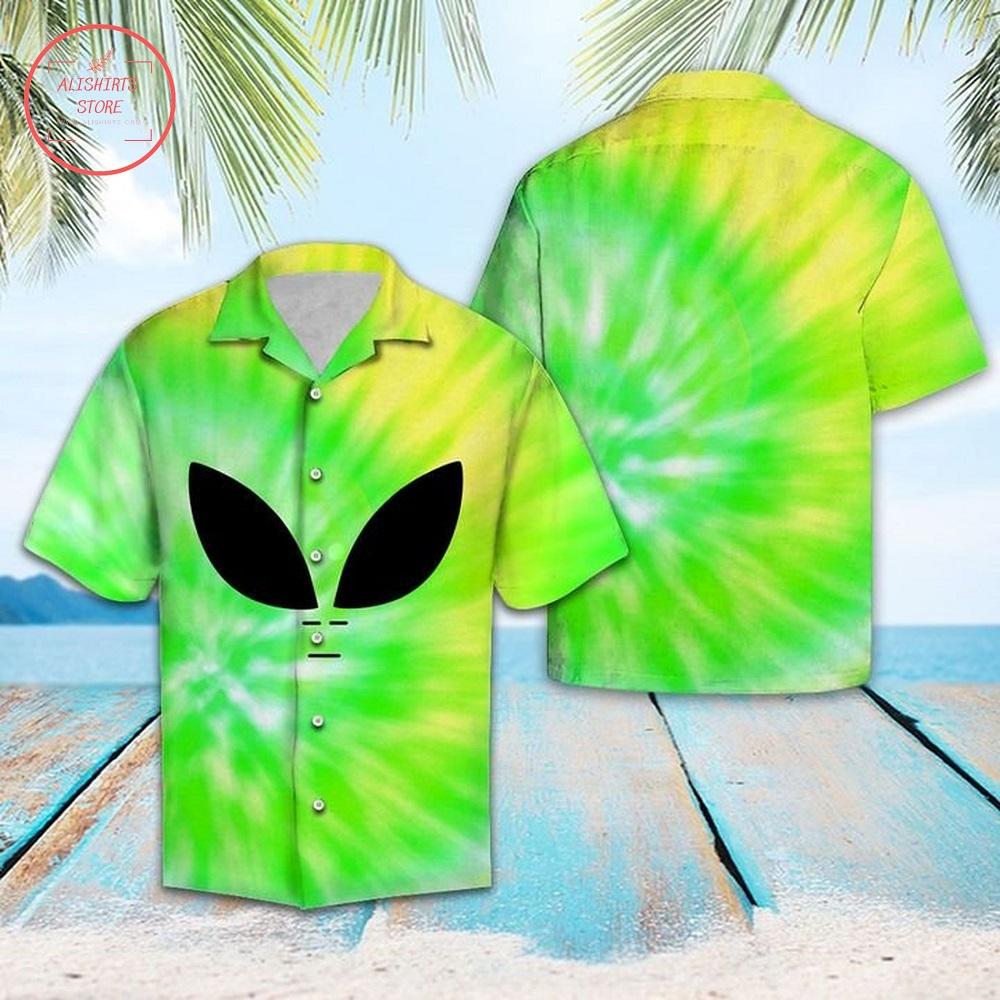 Space Aliens Hawaiian Shirt Summer Button Up