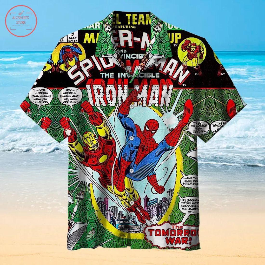 Spider Man Meets Iron Man Hawaiian Shirt