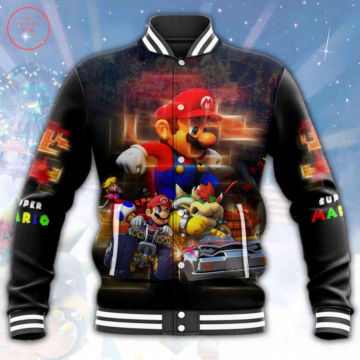 Super Mario All Over Print Letterman Jacket